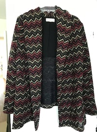 Anthropologie women's burgundy chevron print sweater coat, size S null