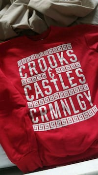 Large red and white crooks crew-neck sweater Richmond, V6V 1G5