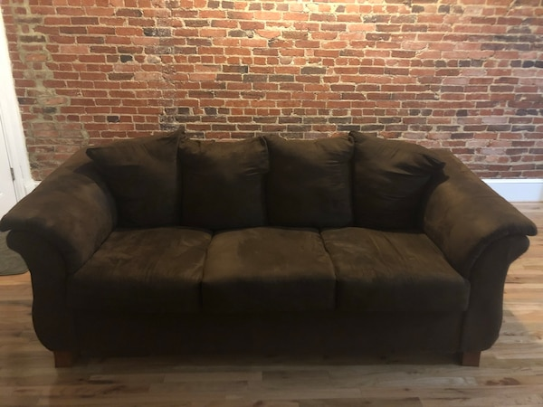 brown suede 3-seat sofa