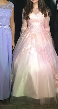 glittered pink flare gown, long dress, prom, quinceañera Pink dress