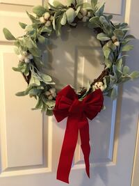 Christmas wreath with easily removable bow - $50
