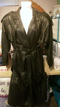 Womens full length Black leather trench coat sz xl