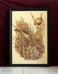 Bird nest, pyrography, family, wood burned, with frame 16x24. Westminster. Westminster