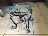 Rod Iron side table   with Glass top- Great for deck or inside  Burnaby
