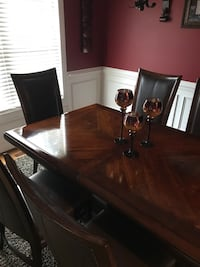 Rectangular brown wooden table with six chairs dining set Forest, 24551