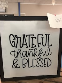 white Grateful thankful & blessed in brown wooden frame