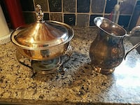silver pitcher and chafing dish