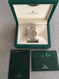 Silver and gold rolex round analog watch Powder Springs, 30127