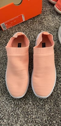 Coral pink slip on shoes