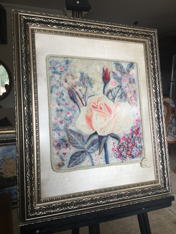 Used Gul Cam Boyama Resim Rose Glass Paint Art For Sale In