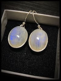 Stamped 925 Sterling silver moonstone earrings  Toronto, M6B 1A7