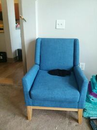 2 blue matching chairs