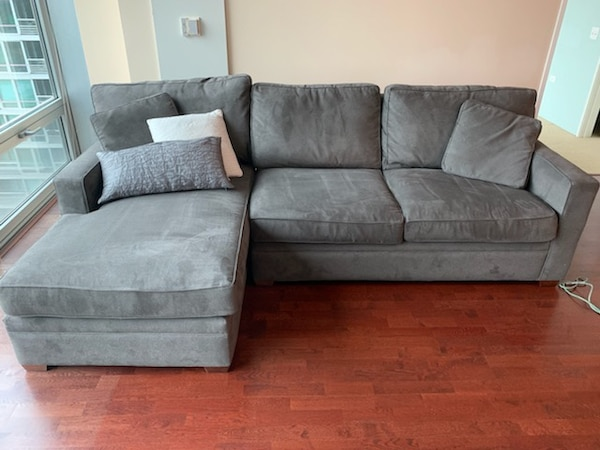 Gray Microfiber Sofa with Chaise