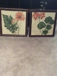 Two brown wooden framed painting of flowers Pittsburgh, 15203