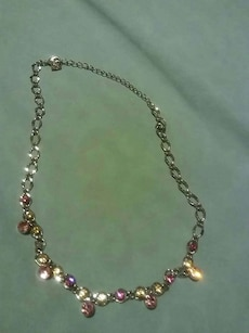 silver chain beaded necklace