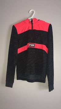 PINK black and pink zip-up sweater