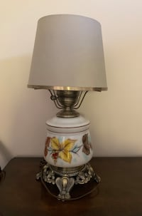 Vintage table lamp - hand painted glass base