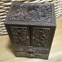 Antique Asian Wood Carved Jewelry Keepsake Box Queens, 11103
