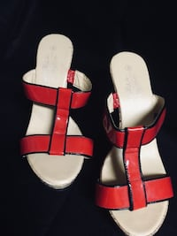 pair of red leather open toe ankle strap sandals Locust Grove, 30248