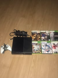Black xbox 360 console with controller and 7 games Los Angeles, 90732