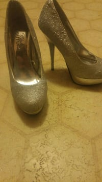 pair of gray glittered platform stilettos Edmonton, T5B 0T6