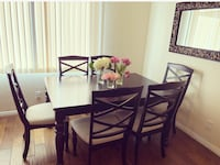 6 Piece Dining Table bookshelf and side table (good condition)