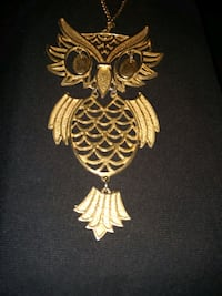 Antique and Unique Large Owl Charm w/ long necklac Winter Haven