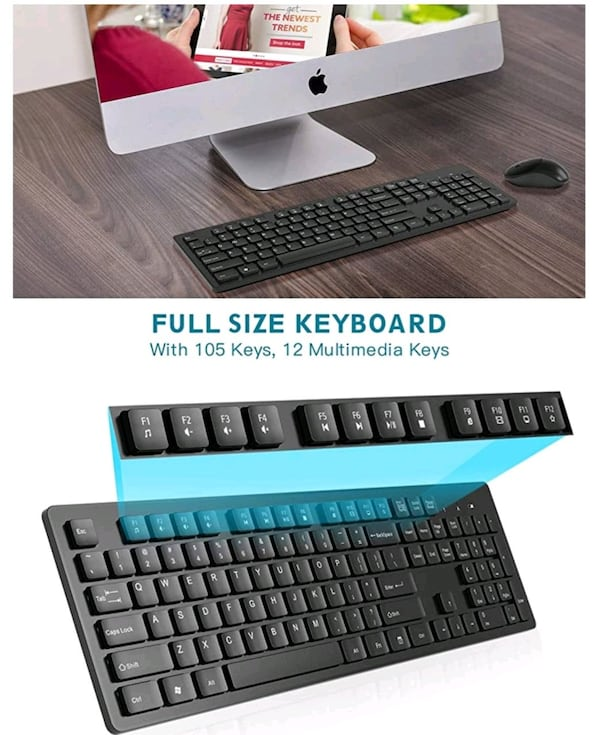 Wireless Keyboard and Mouse Combo 2.4G USB 3
