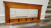 Solid wood wall mounted coat rack with mirror Toronto