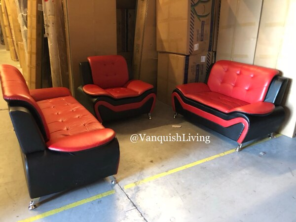 5 Star Black And Read Leather 3 Piece Living Room Set Sofa Loveseat Sofa  Chair Living Room Set Black and Red Living Room Set