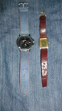 round silver analog watch with brown leather strap Kolkata, 700031