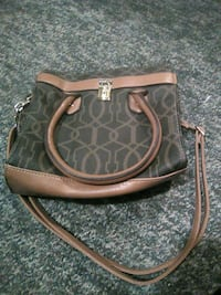 brown and black leather handbag