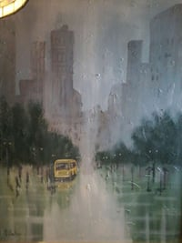 yellow bus oil painting