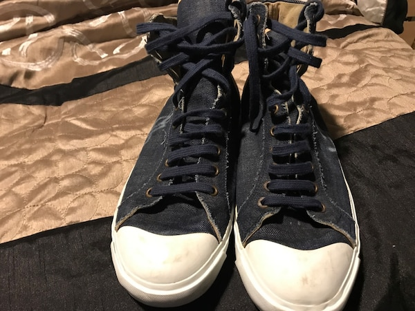 Size 10 (43 EU) Authentic Saint Laurent men's high top denim sneakers f6e54c77-215e-46e6-9047-da9410124a1b