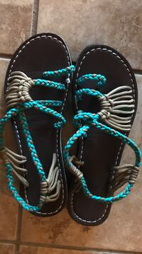 Brownand-teal leather thong sandals Chico, 95973