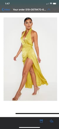 Pretty little Thing - Yellow silk dress (size 4) BRAND New Mississauga, L5L 3C3