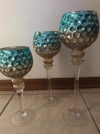3 Decorative goblet,  sizes 16 14 and 12 inches tall  784 mi