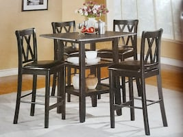 5pc black counter height dinette set