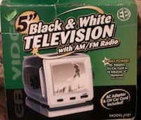 Vintage camping tv. Black and white Canton