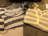 2 Misses tops yellow stripes size medium slim fit NWT gray stripes small flowy tunic style  Murray, 84123