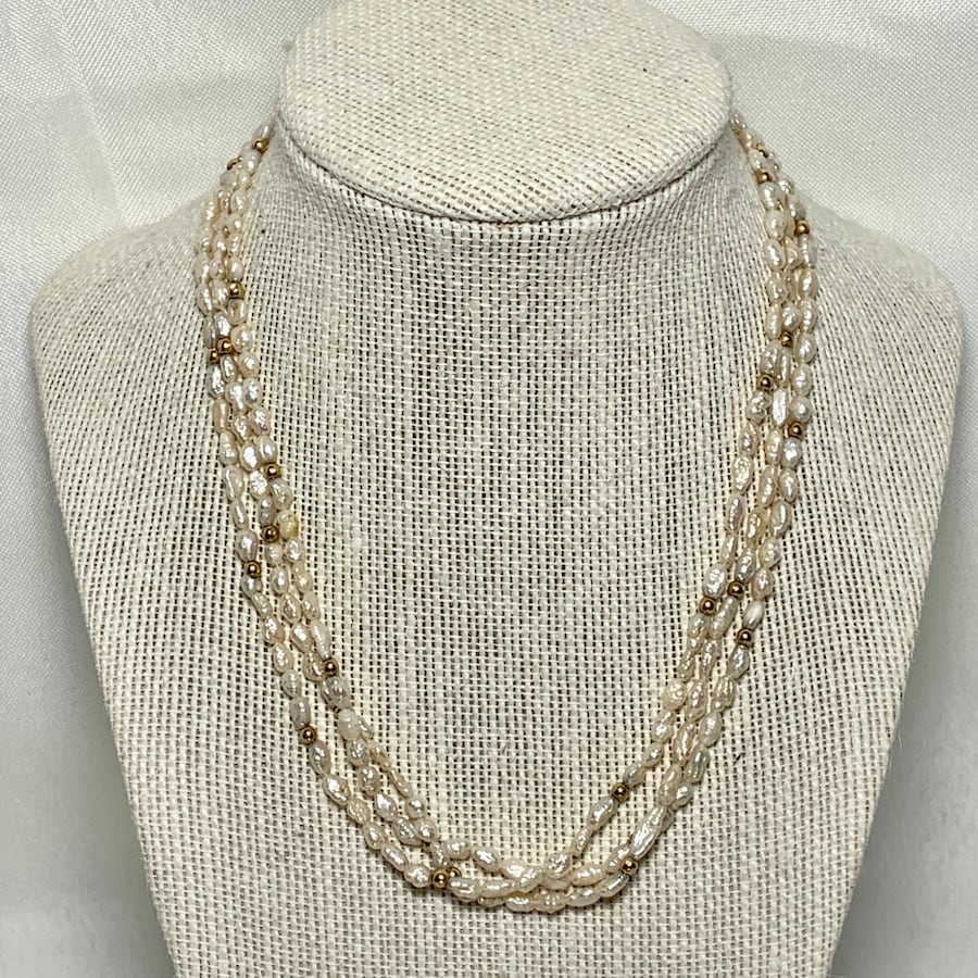 Genuine Pearl Necklace with 14k Gold Beads & Clasp