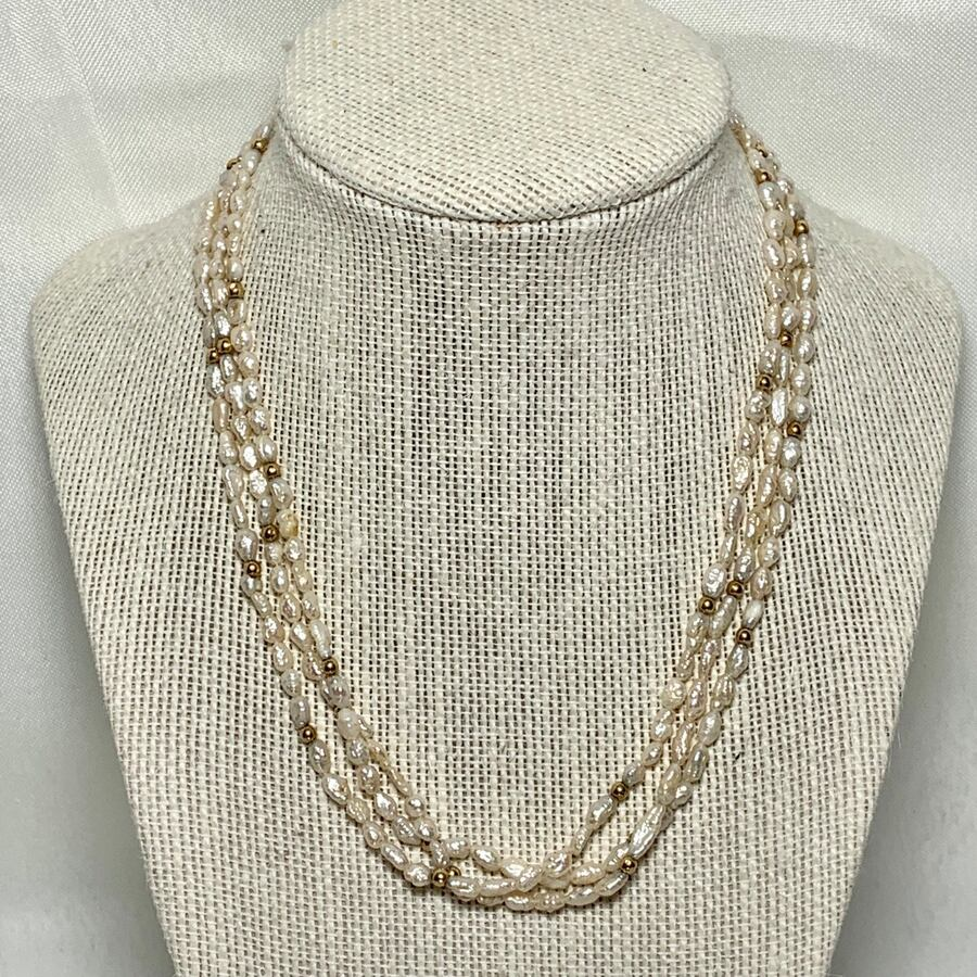 Genuine Pearl Necklace with 14k Gold Beads & Clasp 41032052-2a23-43e1-894f-3fe81d62d87b