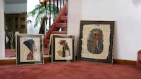 3 Vintage Egyptian Wall Papyrus Paintings in frame Ridgefield