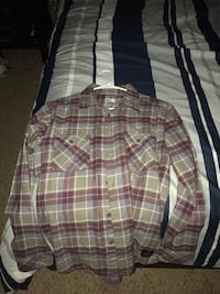 brown, red, and white gingham button up long sleeve polo shirt Moreno Valley, 92555