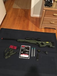 AGM airsoft sniper and accessories