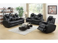 3 Piece Black Leather Living Room Set Brand New!  Bakersfield