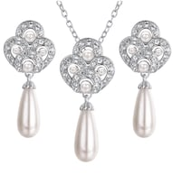 Fresh Water Silver Tone Petals Pearl Pendent Necklace & Earring Brampton, L7A 3M5