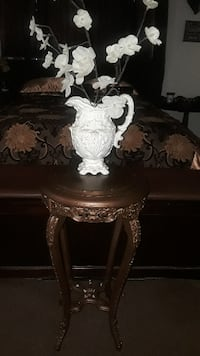 CARVED WOOD PLANT STAND GRANITE TOP Corona