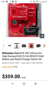 Milwaukee battery and Charger.  Ottawa, K1G 3W7