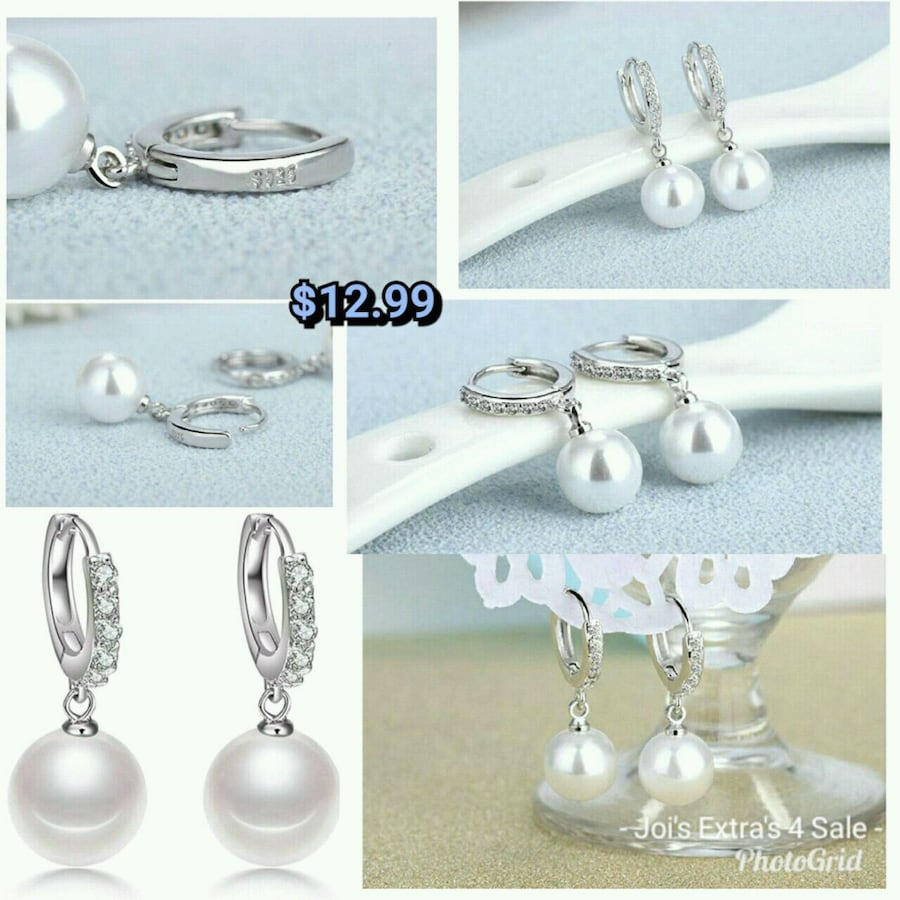 S925 Silver, Pearl, Zircon Earrings